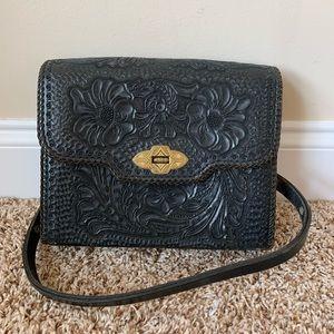 Vintage embossed black leather bag #6295